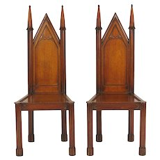 Pair of George III Oak Gothic Hall Chairs, c. 1800