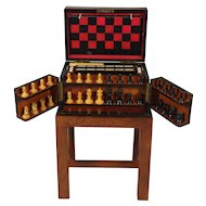 Fine Figured Walnut Games Box on Stand