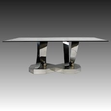 Greg Sheres Polished Stainless Steel and 24 K Gold Plated Brass Dining Table