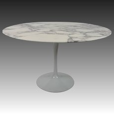Carrara Marble-Top Tulip Base Dining Table by Eero Saarinen for Knoll