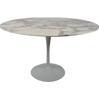 Carrara Marble-Top Tulip Base Dining Table by Eero Saarinen for Knoll