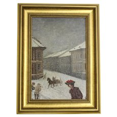 Wintertime in Vienna Oil Painting by Emil Fiala 1906