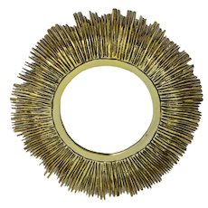 Brass Sunburst Mirror France 1960s