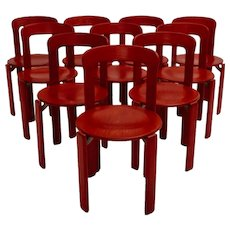 Red Dining Room Chairs by Bruno Rey 1970s Germany, Set of 10