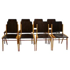 Set of eight bicolor Dining room Chairs by Franz Schuster Vienna 1959