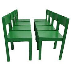Mid Century Modern Green Dining Chairs  Vienna Set of 8