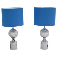 Pair of chromed Table Lamps with blue Shades 1960s France