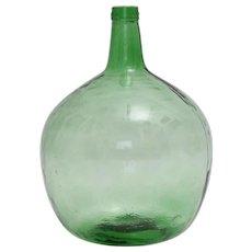 Green Vintage Glass Bottle or Vessel Demijohn by Viresa 1970s