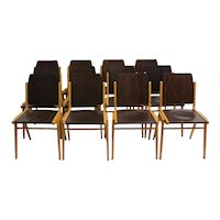 Set of 12 bicolor Dining Room Chairs by Franz Schuster Vienna 1959