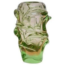 Green Glass Vase circa 1959 by Jan Beranek for Skrdlovice ,Bohemia (Czech Republic)