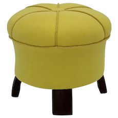 Yellow Art Deco Pouf Austria 1930s