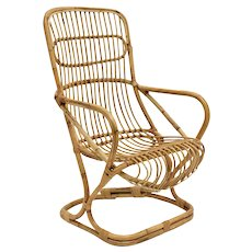 Mid Century High Back Rattan Armchair by Bonacina 1960s Italy
