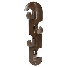 Brown Plastic Wall Hook Italy 1970