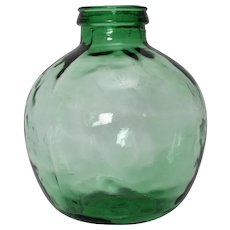 Green Handblown Glass Bottle by Viresa 1970s