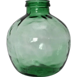 Green Handblown Glass Bottle by Viresa 1970s