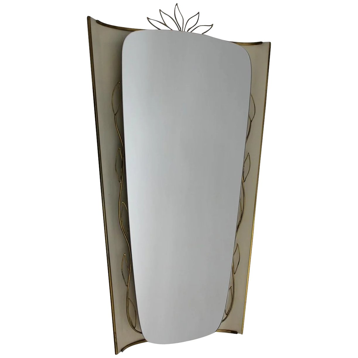 Mid Century Modern Lit Up Wall Mirror In The Style Of Gio Ponti Italy 1950s