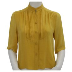 Blouse yellow Celine Paris 1970s