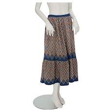 Wool Midi Skirt Bohemian 1970s