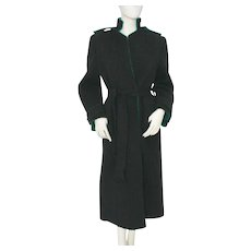 Lancetti Roma Vintage Black and Green Wool Coat 1970s