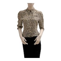 Lolita Lempicka Vintage Silk Blouse with Flower Allover Print 1980s
