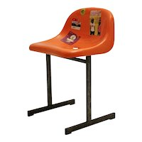 Vintage Orange Plastic Sports Stadium Chair 1970s
