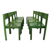 Green Mid Century Modern Dining Room Chairs Vienna Set of 8