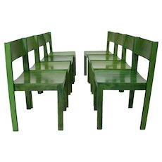 Green Mid Century Modern Dining Room Chairs Vienna Set of 8