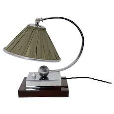 Green Art Deco Chromed Table Lamp France 1920s