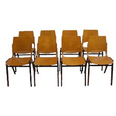 Roland Rainer Chair P 7 for emil & Alfred Pollak vienna, Set of eight