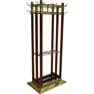 Secessionist Brass Coat Rack with 31 Hooks circa 1910 Vienna
