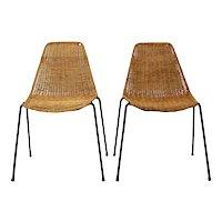 Mid Century Modern Gian Franco Legler wicker Chair 1951 Switzerland, Set of 2