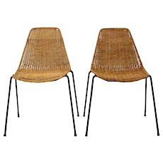 Mid Century Modern Gian Franco Legler wicker Chair 1951 Switzerland, Set of 2