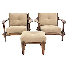 Pair of French Oak Lounge Chairs with Ottoman 1960s