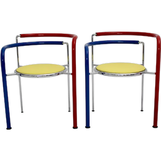 Pair of multicolored Armchairs by Rud Thygesen and Johnny Sorensen circa 1989