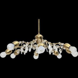 Mid Century Modern J & L Lobmeyr Vienna Brass and Crystals Chandelier 1950s