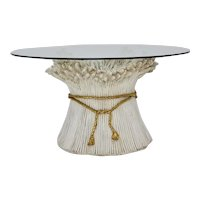 Hollywood Regency White and Gold Sheaf of Wheat Coffee Table 1970s Italy