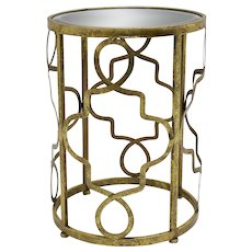Golden Side Table with Mirrored Glass Top Italy 1980s