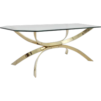 Modernist Vintage Brass Coffee Table with a clear glass plate circa 1970