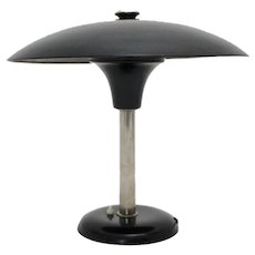 Art Deco Bauhaus Era Black and Chrome Table Lamp by Max Schumacher 1934 Germany