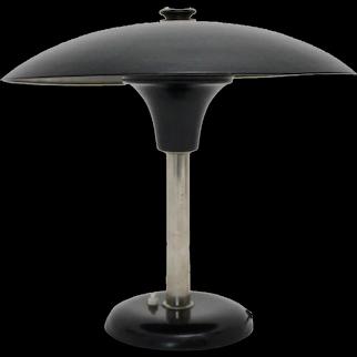Art Deco Bauhaus Era Black and Chrome Table Lamp by Max Schumacher 1934 Germany
