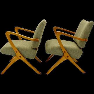 Mid Century Modern pair of beech armchairs Austria circa 1950