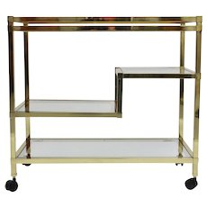 Vintage Bar Cart Brass in the style of Romeo Rega 1970s Italy