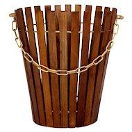 Mid Century Modern Ash Wood Papaer Basket Austria 1960s