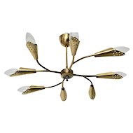 Mid Century Modern Brass Vintage Eight Arm Rupert Nikoll Flush Mount 1950s