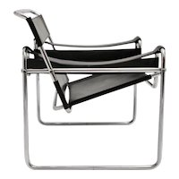 Black Vintage Leather Lounge Chair Wassily by Marcel Breuer Germany