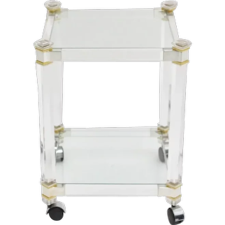 Two Tiered Square Vintage Lucite Bar Cart by Pierre Vandel attr. 1970s France