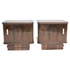 Art Deco Vintage Walnut Nightstands Austria 1930s