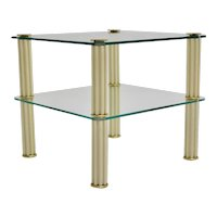Two tiered Vintage Ceramic Glass Side Table or Coffee Table by Paf Milano Italy