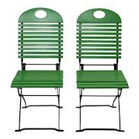 Set of ten Vintage Green Folding Garden Chair 1980s