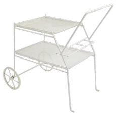White Metal Vintage Bar Cart by Mathieu Mategot France 1960